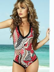 Sensual V Neck Classic Costume in Black and Red