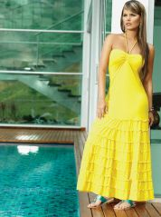 Yellow bandeau Maxi Dress by Phax