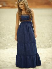 Soft Denim Maxi Dress with Smock