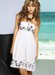White and Black Embroidered Cotton Dress