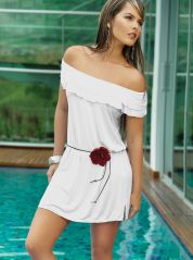 White Off The Shoulder Cotton Lycra Dress