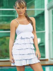 White and Blue Pinstripes Rah-Rah Dress
