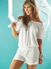 White Short Sleeves Playsuit