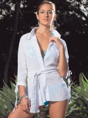 White Cotton Beach Shirtdress By Phax
