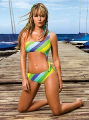 Asymmetric Santorini Strips Cut out Costume By Phax