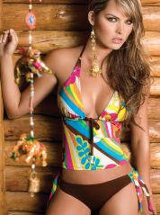 Keyhole Design Multicolor Tankini Set