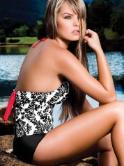 Boy shorts Open back Black and White Tankini