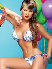 Blue and white triangle bikini with sequence