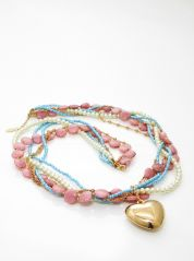 Multi Strands Necklace with Heart