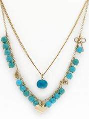 Coco Lush Multi Chain Turquoise Beads Necklace