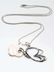 Butterfly and Mother of Pearl Silver Necklace