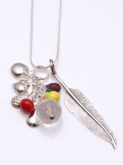 Tropical Fruits Multiple Charms Sterling Silver Necklace