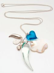 Brazilian Multiple Charms Silver Necklace by Coco Lush