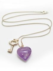 Amethyst Heart Charm Pendant Silver Necklace