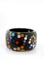 Large Black & Multicoloured Bangle