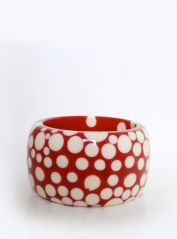 Large Red & Cream Spots Bangle