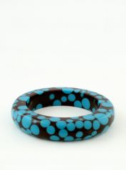 Slim Brown Bangle with Blue Spots