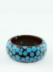 Medium Brown Bangle with blue spots