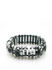 Black White Jackie Brazil Elasticated Resin Bracelet
