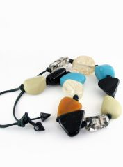 Multicoloured chunky bids necklace