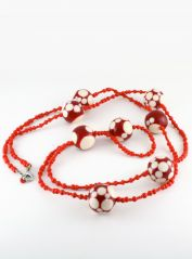 Long Red & Cream Spots Necklace