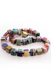 Liquorice Allsorts Multicoloured Cube Necklace by Jackie Brazil