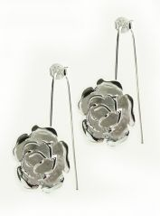Silver Plated Flower Drop Earring (!)