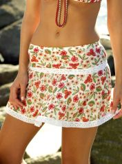 Floral Mini Skirt with Lace Detail