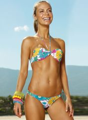 Floral Strapless Bikini with Moulded Cups
