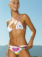 Floral Triangle Bikini with Embellishment