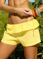 Yellow Fold Over Shorts