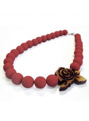 Red large Beads and Rose Necklace