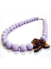Lilac large Beads and Rose Necklace