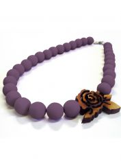 Purple large Beads and Rose Necklace